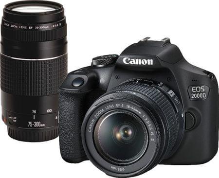 CANON EOS 2000D + 18-55 IS + 75-300 DC III (2728C017) fényképezőgép