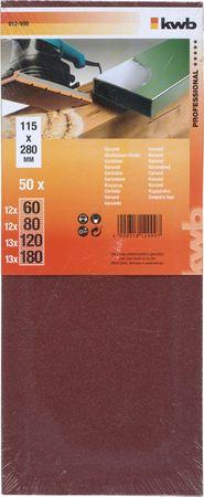 KWB brusni papir za les in kovino, 50 kosov različne granulacije (812999)