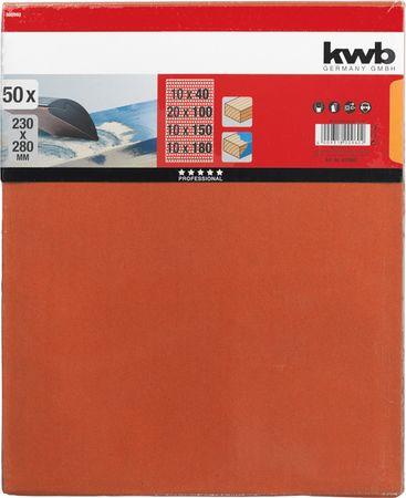 KWB kremenov brusni papir za les in barvo, 230 x 280 mm, 50 kosov različne granulacije (800960)