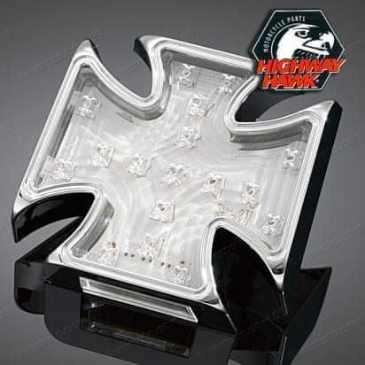 Highway-Hawk koncové moto svetlo GOTHIC s LED, osvetlenie ŠPZ, E-mark, chróm (1ks)