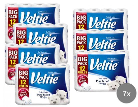 Veltie Delicately 3-vrstvový biely, 7 x 12 roliek