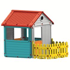 DOLU ogrodowy domek dziecięcy z płotem, plastikowy, niebieski