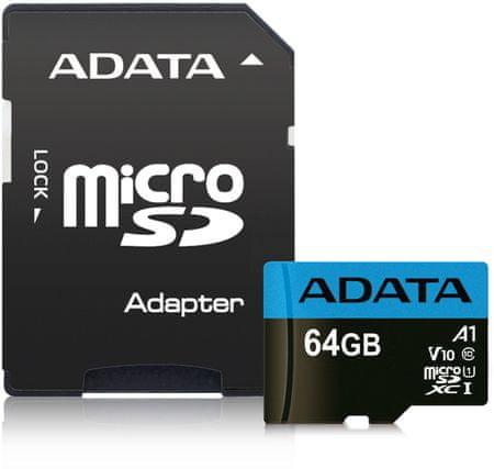 Adata MicroSDHC 64GB UHS-I 85/20MB/s + ad (AUSDX64GUICL10A1-RA1)