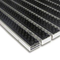 FLOMA Černá hliníková kartáčová venkovní vstupní rohož Alu Super, FLOMA - 1,7 cm