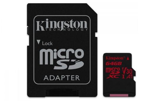 Kingston 64GB Canvas React microSDXC UHS-I V30 + ad (SDCR/64GB)
