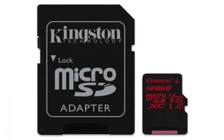 Kingston spominska kartica 128GB, Canvas React microSDXC UHS-I V30