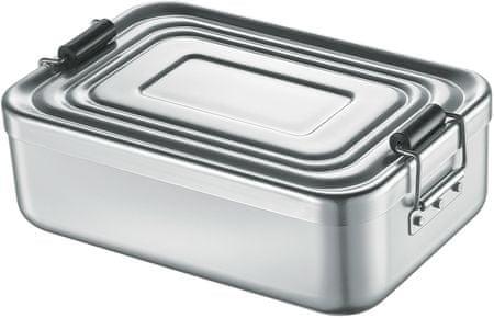 Svačinový box s přepážkou, stříbrný