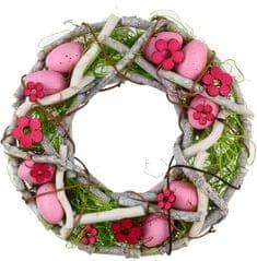 Seizis Húsvéti fűzfakoszorú, 23 cm, rózsaszín