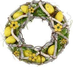 Seizis Veľkonočný veniec z prútia 23 cm, žltý