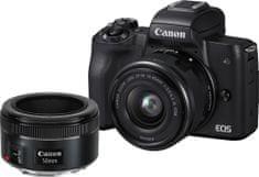 Canon EOS M50 + 15-45 + 50 F1,8 + adaptér EF-EOS M (2680C061) + Cashback 30 €