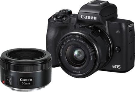 CANON EOS M50 + 15-45 + 50 F1,8 + adaptér EF-EOS M (2680C061) fényképezőgép