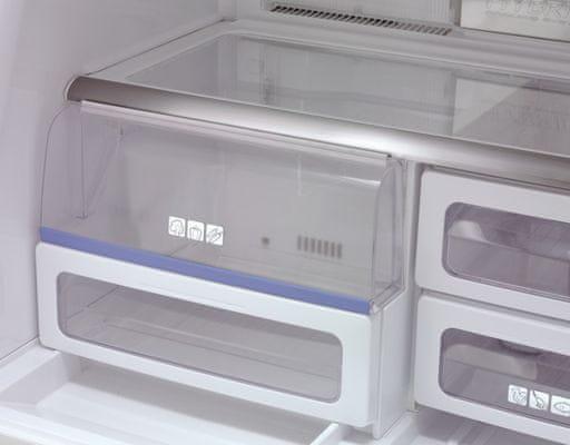 Sharp SJ-FS820VSL nízká hlučnost přihrádka na zeleninu