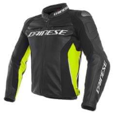Dainese pánska kožená bunda na motorku RACING 3 čierna/žltá-fluo