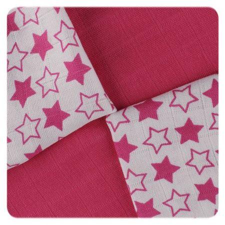 XKKO Bambusové ubrousky Little Stars 30x30, Magenta (9ks)