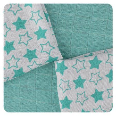 XKKO BMB ubrousky Little Stars 30x30, Turquoise (9ks)