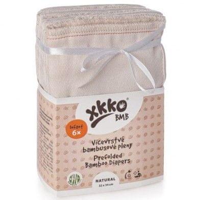 XKKO Viacvrstvové bambusové plienky Natural, Infant (6ks)