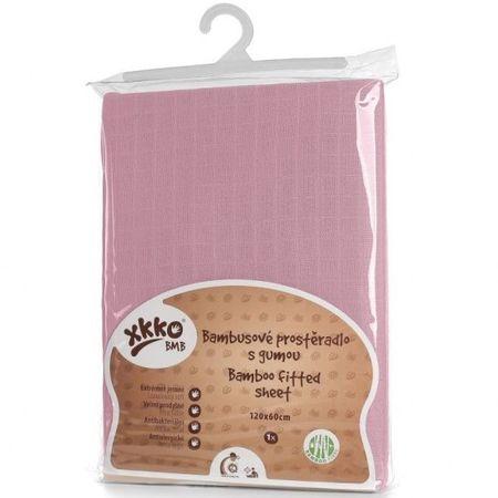 XKKO Bambusz lepedő gumival 120x60, Baby Pink