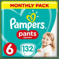 Pampers Plenkové kalhotky Pants 6 Měsíční balení 15+ kg, 132 ks