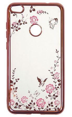 Silikonski ovitek z rožicami za Huawei P9 Lite Mini, roza