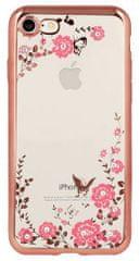Silikonski ovitek z rožicami za iPhone 5, 5S in SE, roza