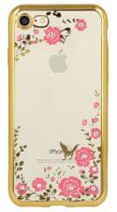 Silikonski ovitek z rožicami za iPhone 5, 5S, SE, zlat