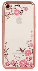 Silikonski ovitek z rožicami za iPhone 6 in 6S, roza