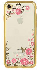 Silikonski ovitek z rožicami za iPhone 7 in 8, zlat