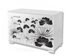 Dimex Nálepky na nábytok - Čiernobiele kvety, 85 x 125 cm