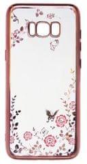 Silikonski ovitek z rožicami za Samsung Galaxy S8 plus, roza