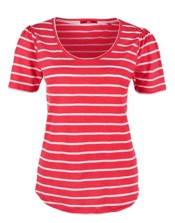 s.Oliver T-shirt damski w paski, 34 czerwony