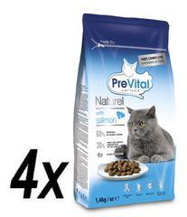 PreVital Naturel száraz eledel macskáknak lazac 4 x 1,4 kg
