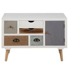 Design Scandinavia Komoda s 5 zásuvkami a dveřmi Thess, 81 cm