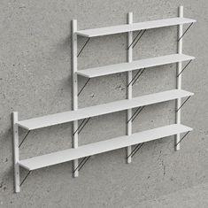 Design Scandinavia Nástenný policový systém Dellan, 236 cm, biela