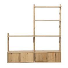 Design Scandinavia Nástěnný policový systém Dellan, 158 cm, dub