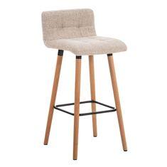BHM Germany Barová stolička s drevenou podnožou Connie, krémová