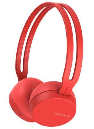 Sony naglavne brezžične slušalke WH-CH400, rdeče