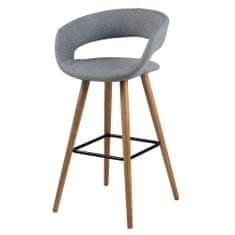 Design Scandinavia Barová stolička s drevenou podnožou Garry (Súprava 2 ks), sivá