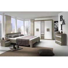 Spálňová zostava (skriňa, posteľ, 2 nočné stolíky), dub sonoma trufel/biela, MEDIOLAN