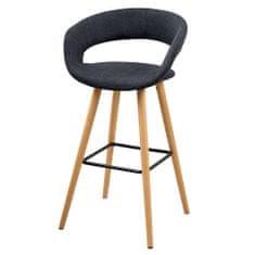 Design Scandinavia Barová stolička s drevenou podnožou Garry (Súprava 2 ks), tmavosivá