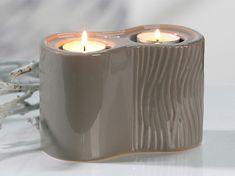 Papillon Čajový svietnik pre 2 sviečky Carving, sivohnedá