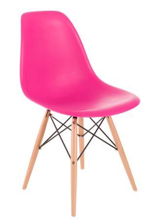 shumee P016W PP sötét rózsaszín szék, fa lábakkal