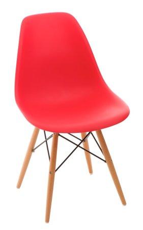 shumee P016W PP szék vörös, fa lábakkal