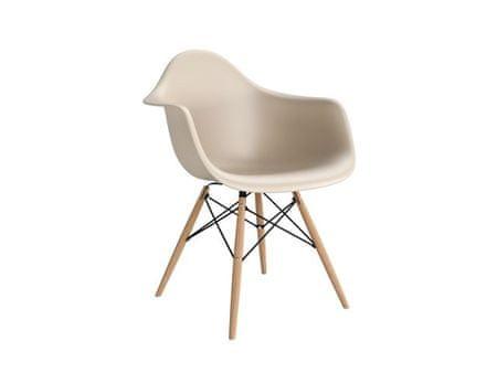 Mørtens Furniture Jídelní židle s dřevěnou podnoží Blom, béžová