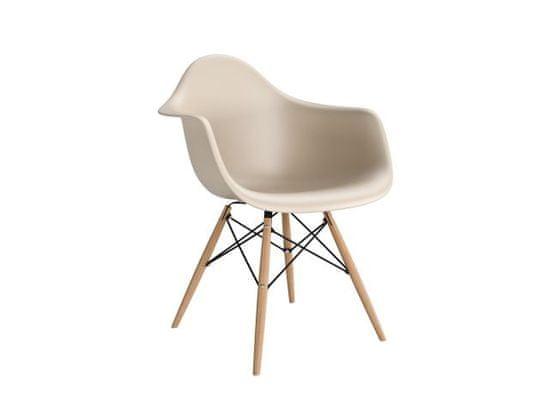 shumee P018W PP béžová židle, dřevěné nohy