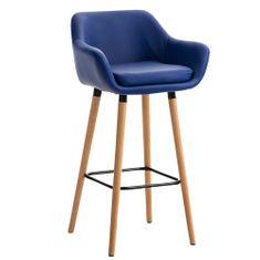 BHM Germany Barová stolička s drevenou podnožou Marina koža