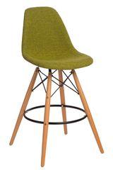 Mørtens Furniture Barová stolička s drevenou podnožou Desire čalúnená