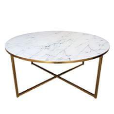 Design Scandinavia Konferenčný stolík okrúhly Alma, 80 cm, zlatá