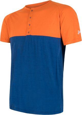 Sensor PT Air Merino férfi rövid ujjú póló gombokkal narancs/kék M