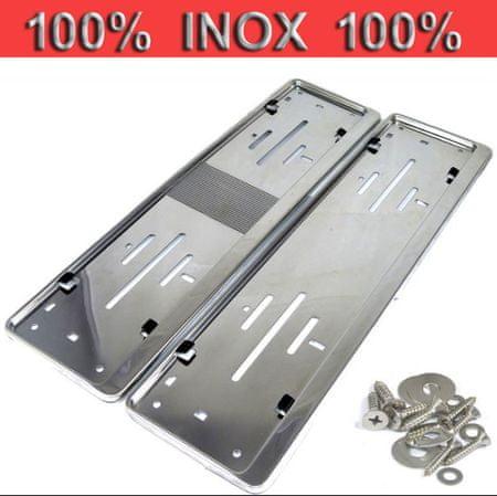 Okvir registrske tablice za avto Premium, inox, 520x120 mm - Odprta embalaža