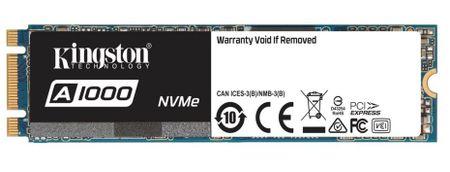 Kingston SSD disk A1000 480 GB, M.2, PCIe NVMe 3.0 x2